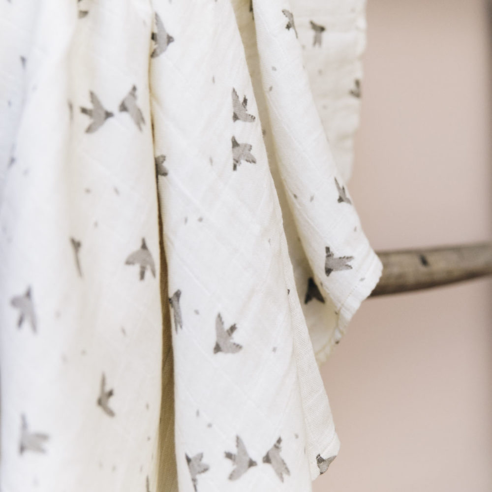 main sauvage pigeon cotton swaddle blanket