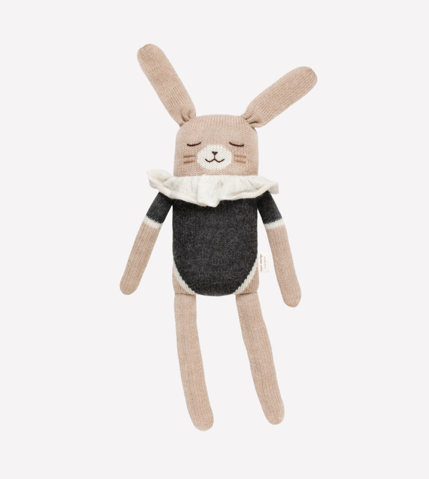 Grand doudou lapin noir Main Sauvage