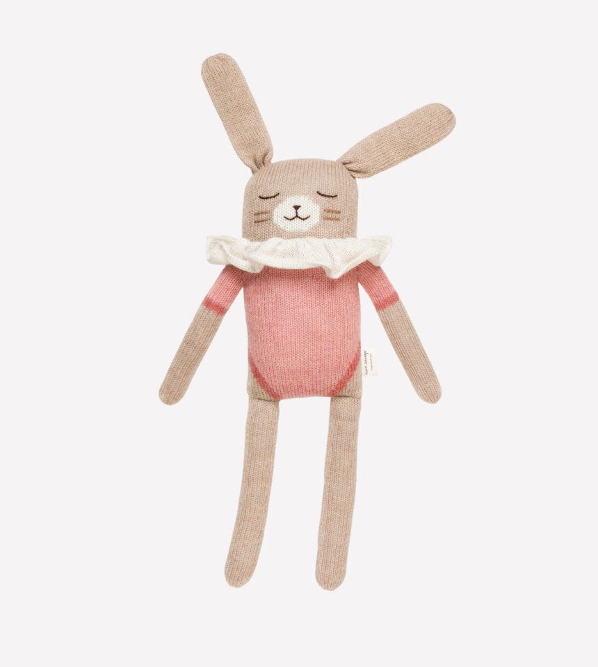 Grand doudou lapin rose Main Sauvage