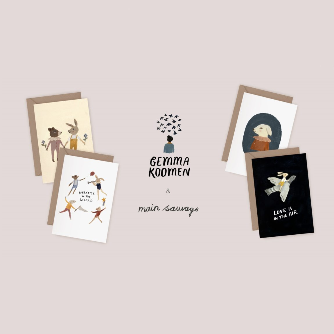 Collaboration Gemma Koomen x Main Sauvage – Illustrated greeting cards